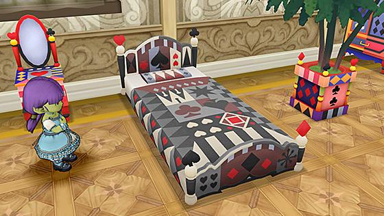 トランプ柄のベッド・黒 [FP]